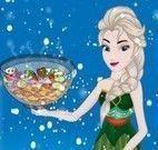 Elsa preparar salada com vegetais