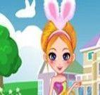 Vestir garota coelhinha da Páscoa