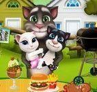 Tom e filhotes decorar mesa da refeição