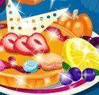Angela fazer torta de frutas