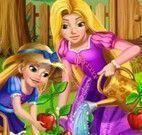 Rapunzel cuidar do jardim
