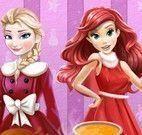 Elsa e Ariel jantar de natal