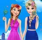 Elsa e Anna roupas do jardim