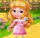 Princesa achar objetos no jardim