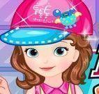 Princesa Sofia limpar banheiro