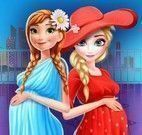 Anna e Elsa grávidas shopping