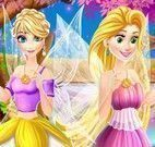 Princesas Rapunzel e Elsa moda fada