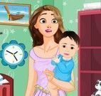 Rapunzel faxina no quarto do bebê