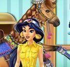 Jasmine cuidar do cavalo