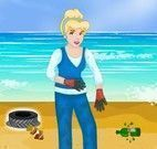 Princesas limpar praia