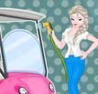 Elsa lavar carrinho de golfe