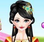 Maquiagem e roupas da chinesa