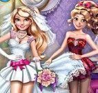 Vestir noiva e amiga Rapunzel