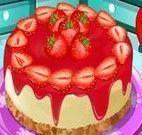 Fazer bolo com cobertura de morango