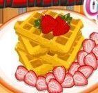 Receita de waffle com morangos