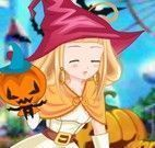menina roupas de Halloween
