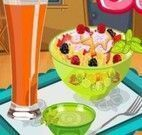Preparar salada de frutas e suco