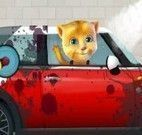Limpeza do carro do gato virtual