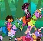 Corrida de cavalo Dora, Draculaura e Ben 10
