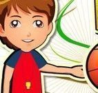 Menino jogo de basquete