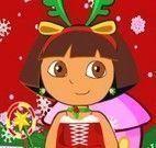 Vestir Dora com roupas de Natal