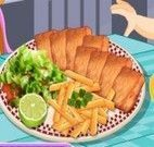Preparar peixe com batatas frita