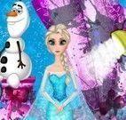 Elsa limpar carruagem