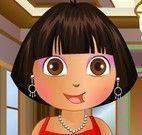 Maquiar e vestir Dora na festa