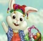 Vestir coelho para entregar ovos da Páscoa