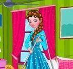 Princesa Elsa limpar quarto