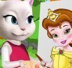 Angela pintar quadro da Bela