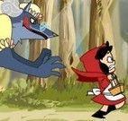 Chapeuzinho Vermelho fugir do lobo mal