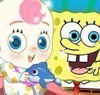 Bob Esponja e Patrick cuidar do bebê