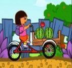 Dora entregando Frutas na Bicicleta
