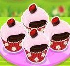 Fazer cupcakes de chocolate com cereja