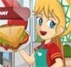Servir sanduíches na lanchonete