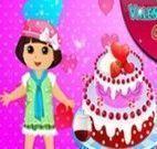 Fazer bolo de morango com Dora