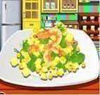 Fazer salada de camarão