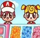 Vender doces e sorvetes na loja