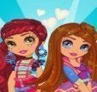 Vestir e maquiar irmãs gêmeas