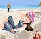 Vestir garota na praia